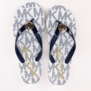 Michael Kors Navy White Flip Flops